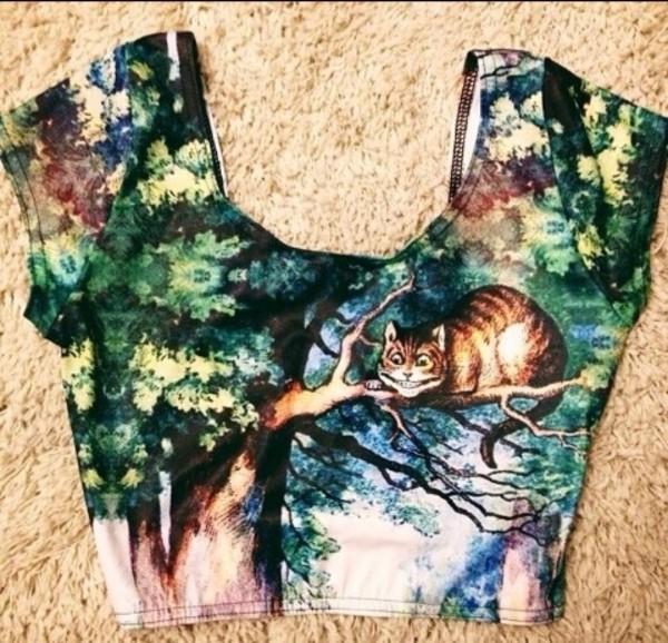 shirt cats alice in wonderland green tree