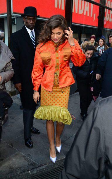 skirt jacket zendaya pumps fall outfits shoes polka dots midi skirt