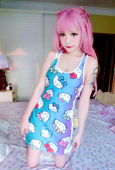 hello kitty hello kitty dress kawaii fashion japanese fashion tokyo fashion korean fashion kfashion bodycon dress body con dress dress neon colorful