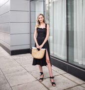 bag,dress,black dress,midi dress,straw bag,sandals