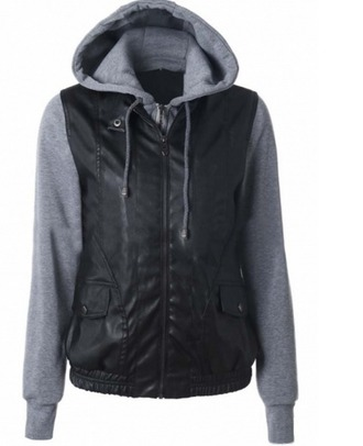 jacket grey black leather grey hoodie hoodie leather jacket