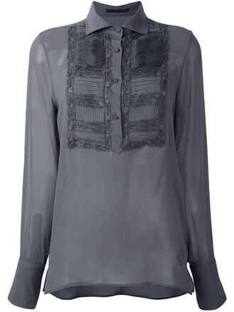 blouse embroidered women silk grey top