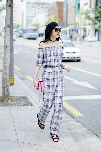 olivia lazuardy blogger sunglasses hat top pants bag shoes tartan plaid off the shoulder off the shoulder top three-quarter sleeves pink bag cat eye beret sandals flat sandals black sandals gladiators