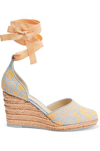 jacquard espadrilles print blue sky blue shoes