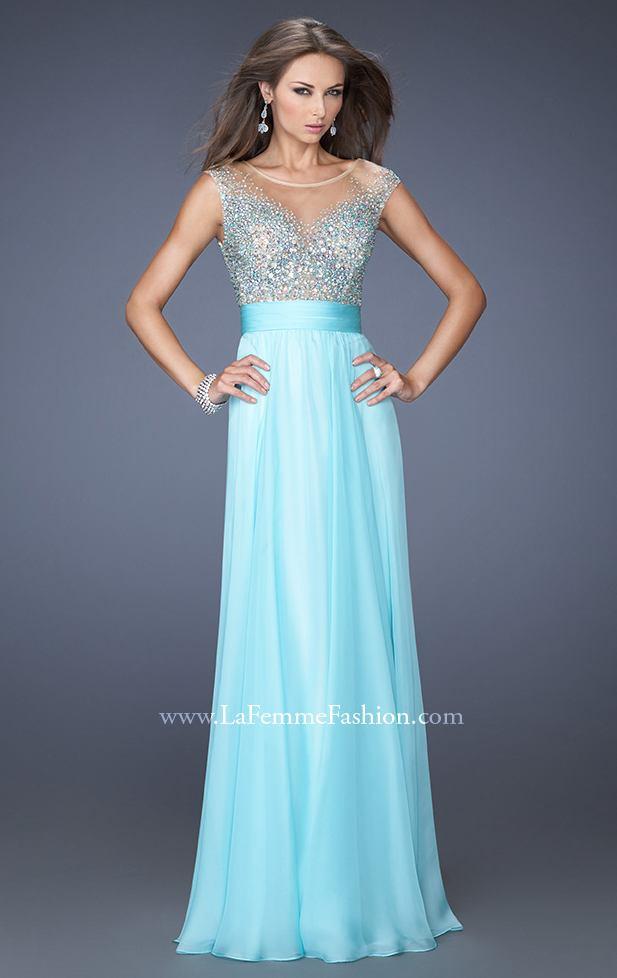 Sheer Top Aqua Prom Gown by La Femme 19694 [19694 by La Femme] - $165.00 : Discover Unique Dresses Online at PromUnique.com