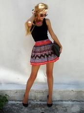 skirt,heels,shoes,dress,cute outfits,cute aztec,shirt,summer skirt,patterned skirt,orange skirt