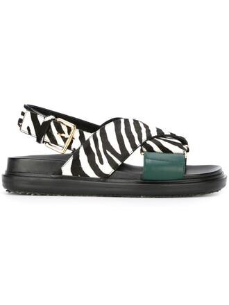 zebra hair women sandals leather black shoes
