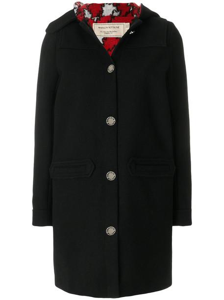 maison kitsune jacket hooded jacket women black wool