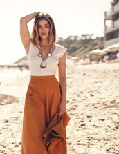 skirt,top,lucy hale,white top,editorial,celebrity,midi skirt,asymmetrical skirt