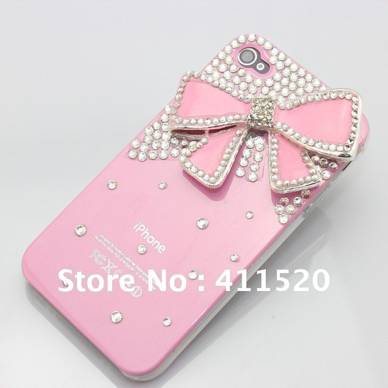 Cute Pink Bow Diamond Case Cover with Screen Protector for iPhone 4 4G 4S 20PCS/LOT Free Shipping-in Phone Bags & Cases from Electronics on Aliexpress.com | Alibaba Group