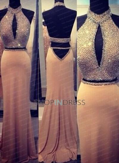 Mermaid/trumpet high neck floor length satin blush celebrity dress with beaded npd098073 sale at shopindress.com