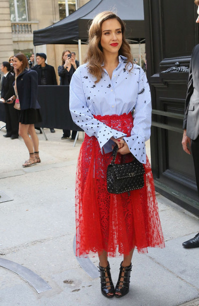 Skirt: shirt, jessica alba, streetstyle, midi dress ...