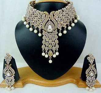 jewels pearl indian bridal lehenga choker necklace