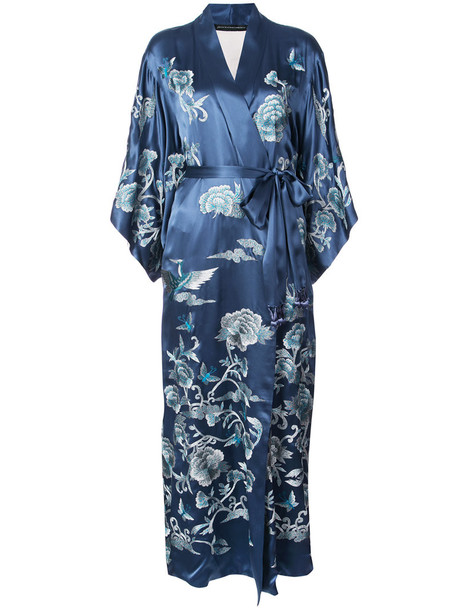 Natori dress women blue silk