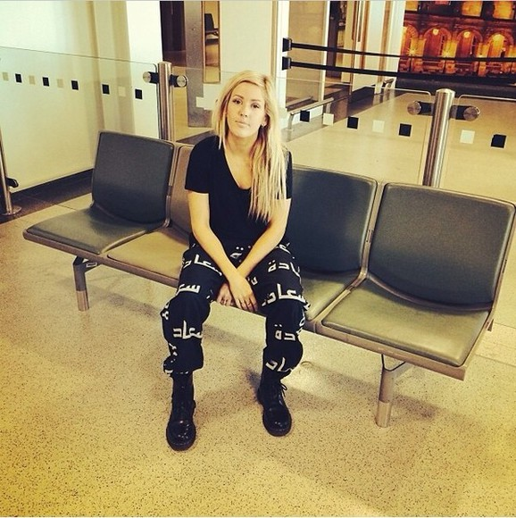 pants black white printed pants ellie goulding arabic shirt black, arabic, elliegoulding