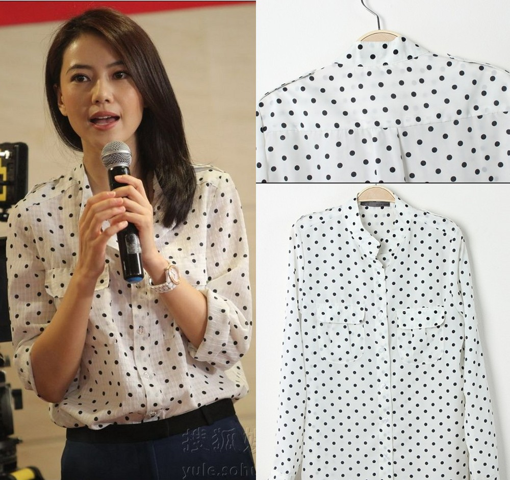 Aliexpress.com : Buy New Fashion Women's Long Sleeve with Pocket Epaulet Polka Dot Print Button Down Shirt Blouse Tops Size sz S M L from Reliable new style tattoo sleeves suppliers on Lisa's Fashion Clothing