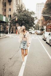 yael steren,blogger,cardigan,shirt,skirt,shoes,jewels,sunglasses,make-up,nail polish,denim skirt,fall outfits,spring outfits