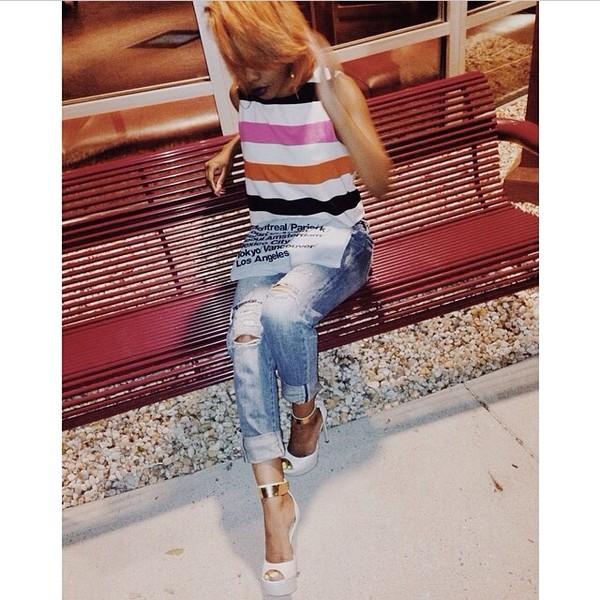 blouse stripes jeans