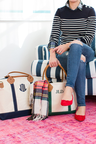 lemon stripes blogger bag sweater shirt scarf striped sweater shoes red shoes winter outfits handbag skinny jeans