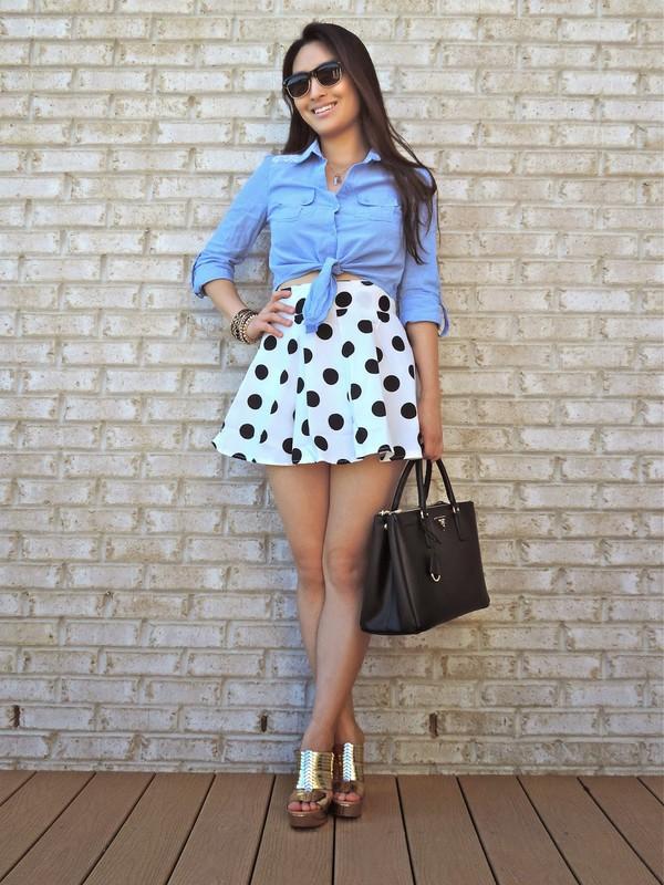 sensible stylista top jewels skirt shoes bag sunglasses