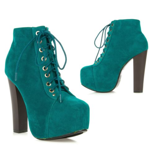 New Womens High Heel Lace Up Hidden Platform Ankle Bootie Boot Jordon 03 Mint | eBay