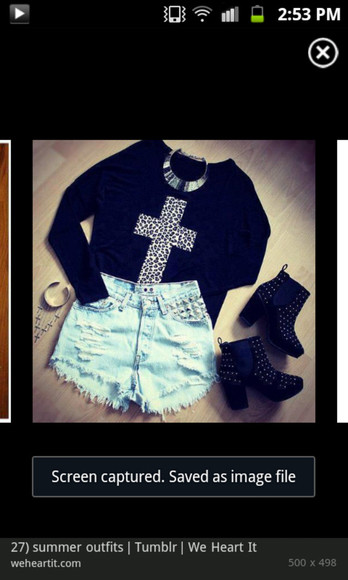 cross shirt black long sleeve jean shorts high heels