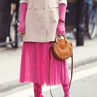 sweater dress pink sweater dress blazer pink blazer shoes pink shoes handbag brown handbag dress jacket bag