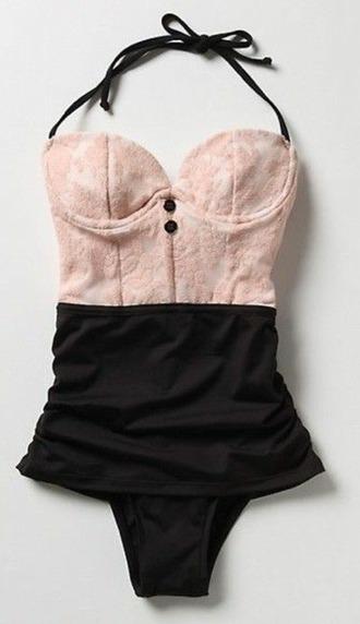 swimwear kawaii jfashion kfashion asian fashion lace one piece swimsuit one piece lace bathing suit pastel goth fairy kei retro
