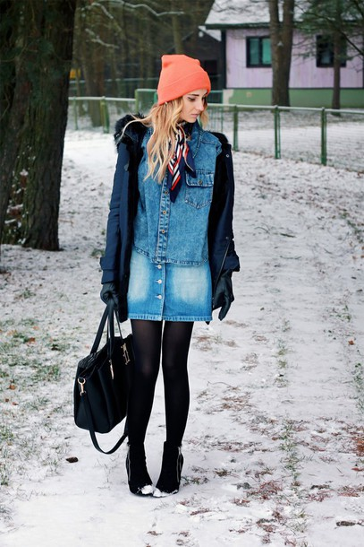 lilissss blogger scarf denim shirt denim skirt beanie