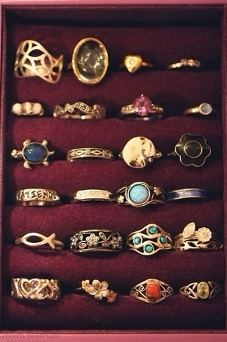jewels stone hippie ring