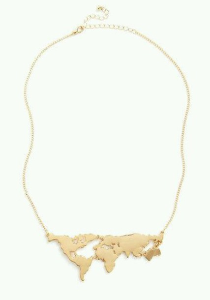 Jewels map print necklace big necklace and the world necklace jewels map print necklace big necklace and the world necklace world gold map cute travel tumblr wheretoget gumiabroncs Images