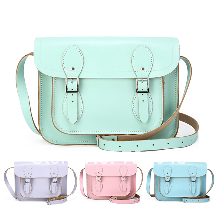 Pastel 11'' Real Leather Satchel Mint Green Handmade Satchel Baby Pink Satchels Shoulder Cross Body Bag Women Messenger Bags-in Luggage & Bags on Aliexpress.com | Alibaba Group