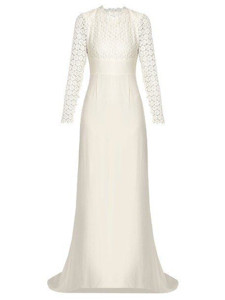 gown backless lace white dress
