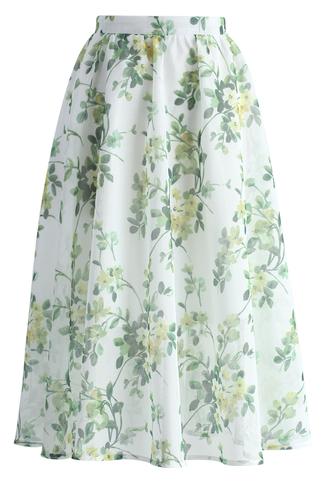 skirt meadow serenades a-line midi skirt chicwish a-line skirt midi skirt floral skirt printed skirt summer skirt
