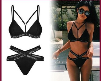 swimwear black bikini black swimwear aviator sunglasses god save queen bikini kylie jenner