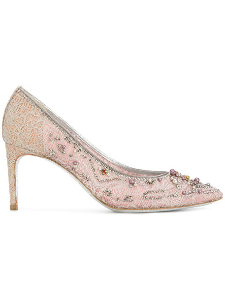 René Caovilla women embellished pumps leather purple pink shoes