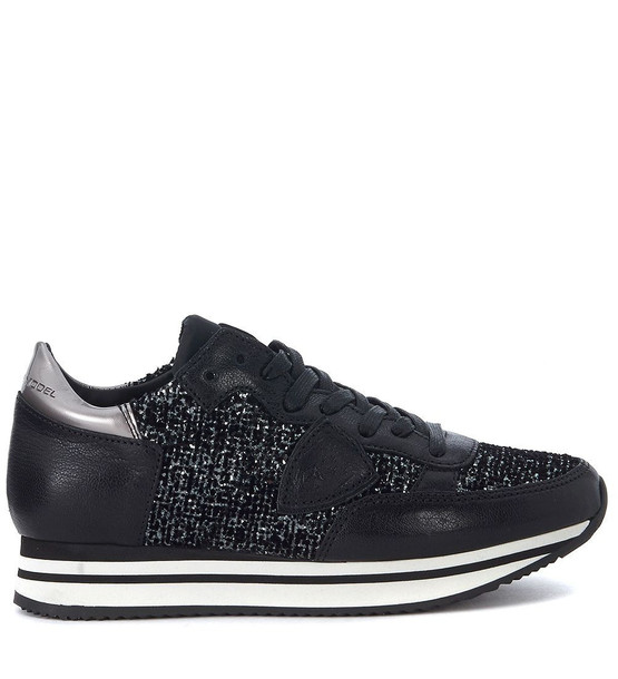 Philippe Model Tropez Black Canvas Sneaker With Glitter