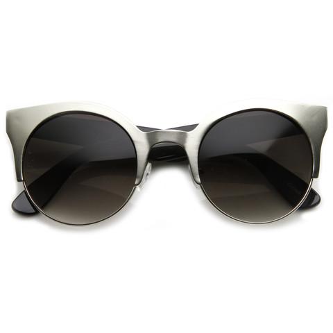 Trendy full metal half frame cat eye round sunglasses 8821