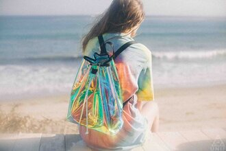 bag transparent  bag see through holographic colorful plastic unif grunge kawaii backpack