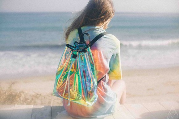 bag original grunge bagpack transparent  bag see through holographic holographic, backpack, bag, beautiful bags colorful plastic bagpack plastic new girl unif kawaii