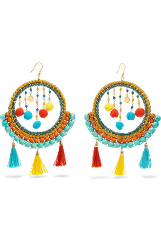 embellished earrings blue green jewels