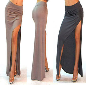 Sexy Minimalist Thigh High Slit Ruched Fitted Split Jersey Long Maxi Skirt SML | eBay