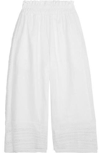 pants wide-leg pants cropped white crochet
