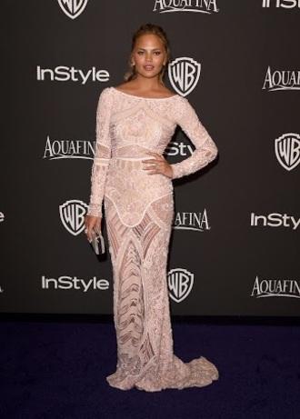dress gown long dress celebrity chrissy teigen