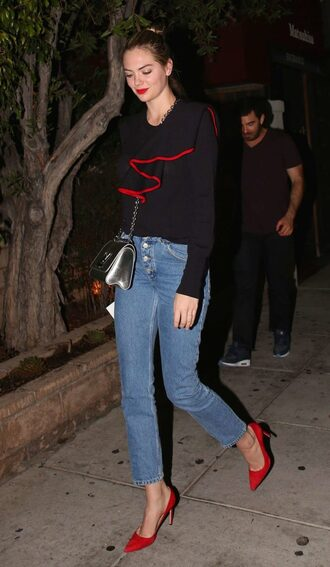 blouse jeans pumps kate upton streetstyle fall outfits ruffle asymmetrical