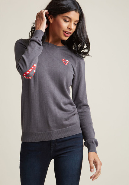 MCS1175 sweater pullover grey sweater heart dark candy grey