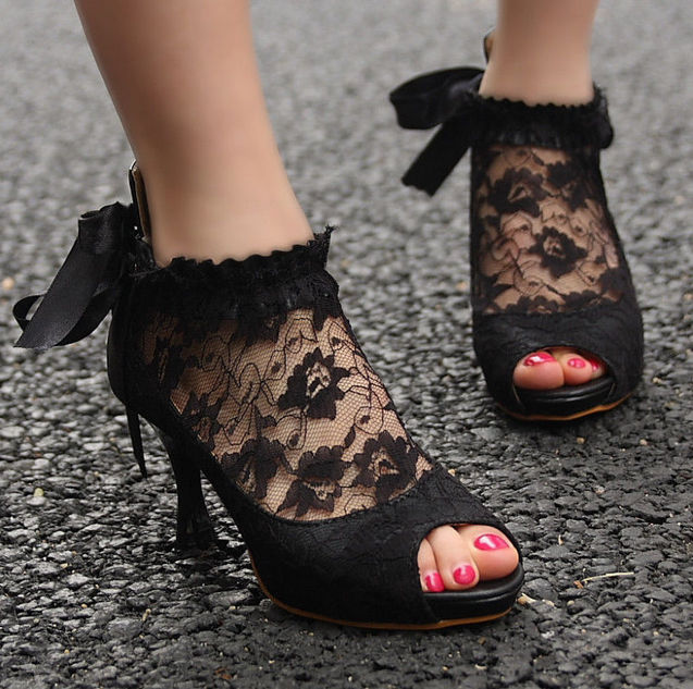 New fashion ladies wedding lace bowknot ankle heel pumps shoes high heel sandals