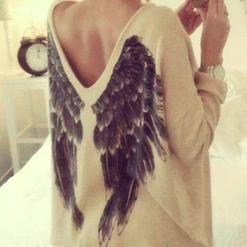Europe fashion women t shirt angel wings print long sleeve casual tops beige top quality ladies tops female clothes