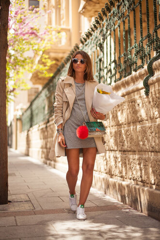 lovely pepa blogger dress sunglasses trench coat grey dress stan smith shoulder bag