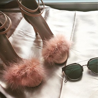 shoes pumps pink blush pink furry heels strappy heels summer shoes ankle strap heels